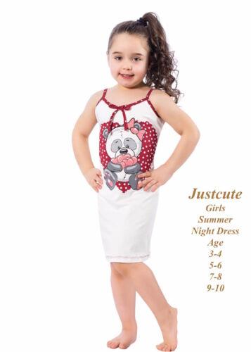 Girl/'s Summer Nightdress bear hugs /& heats  93/% cotton 3 to10 Years