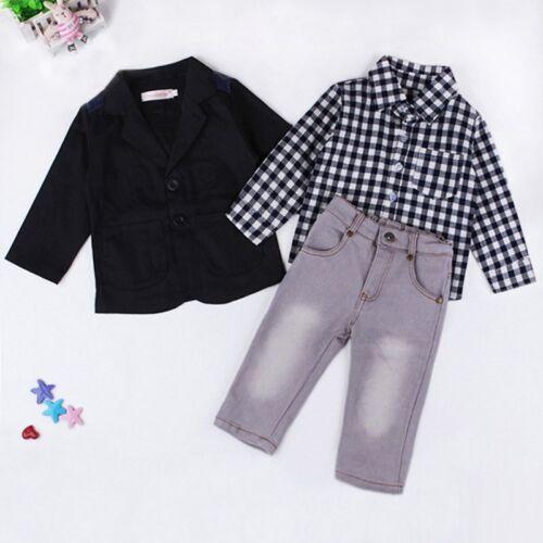 3PCS Baby Boys Dress Suit Coat//Plaids Shirt//Denim Pants Set Kids Clothes Outfits