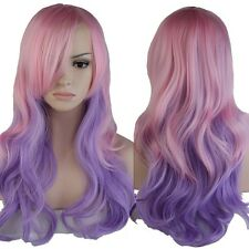 Ombre Long Hair WigCurly Wavy Women Cosplay Party Colorful Full Wigs Pink Purple