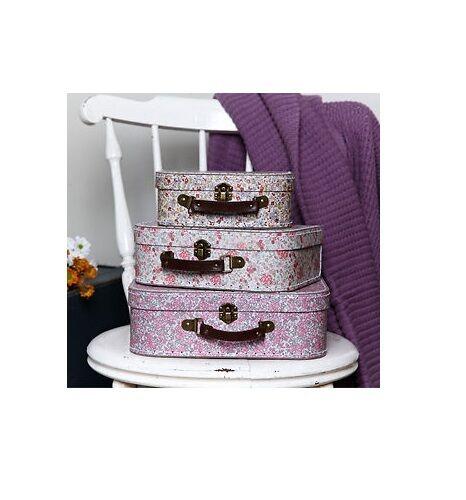 RETRO VINTAGE FLORAL PINK MINI LUGGAGE SUITCASE STORAGE CASES BOXES WEDDING GIFT