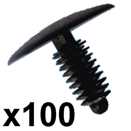 Fit 6-7mm hole 100x Plastic Car Trim Clips 24mm Head