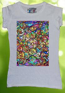 Disney-All-Characters-Women-T-shirt-Diamond-Novelty-Mickey-Minnie-Mouse-W24