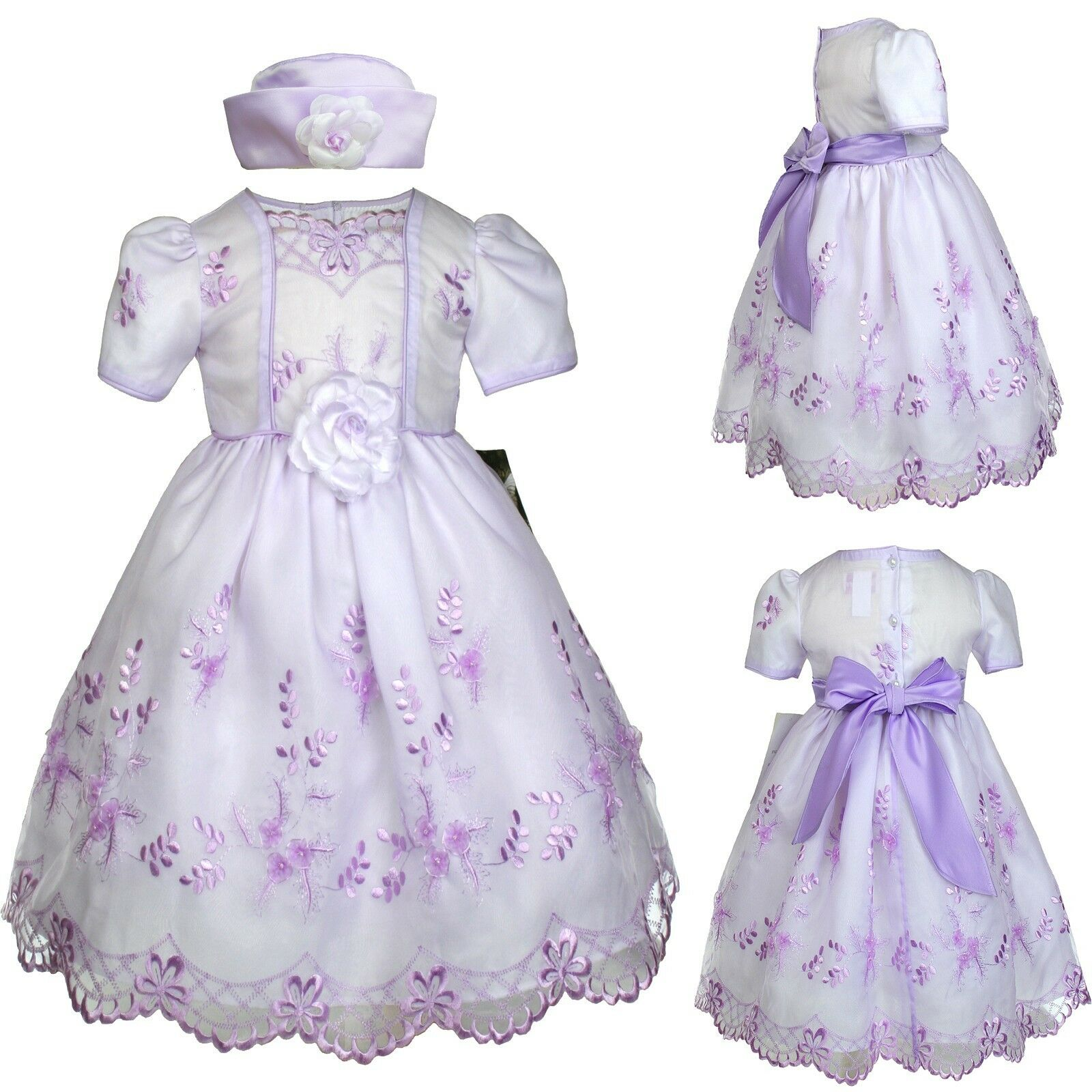 Baby Girl Toddler Lavender Dress Wedding Prom Easter Formal Party sz: S M L XL