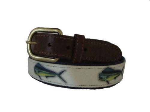 CROAKIES Mens Leather Nylon Canvas Fishing Belt /> Mahi Mahi Dolphin  pick size