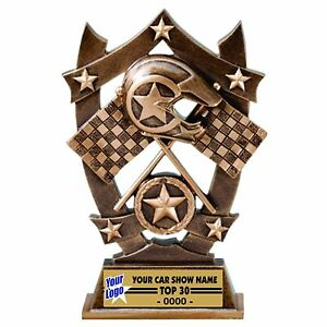 THREE DIMENSIONAL CROSS FLAGS RACING TROPHY CAR SHOW TROPHY RESIN - Car show flags