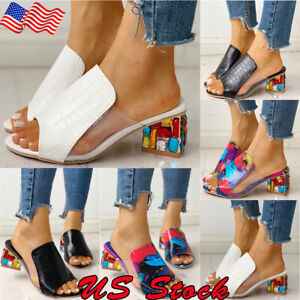 Candy-Sandals-Women-039-s-Colorful-Applique-Chunky-Heel-Slipper-Summer-Casual-Shoes
