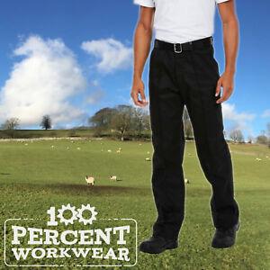 Uneek-Mens-Drivers-Work-Trousers-Pants-Sewn-In-Crease-Black-Navy-Blue-Reg-Tall