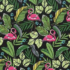Michael Miller FLAMINGOS IN PARADISE Tropical Hawaiian Flamingo Fabric - Black