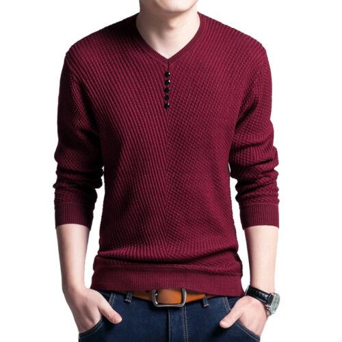 Herren V-Ausschnitt  Hemd Shirt T-Shirt Sweatshirt Pullover Top Langarm Slim FL