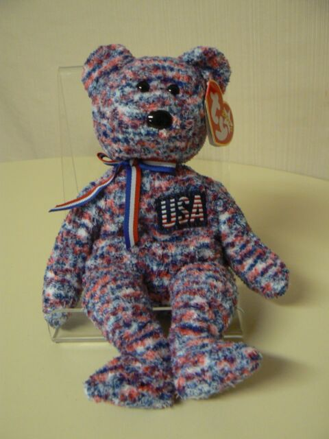 Usa 2000 Ty Beanie Baby 8mm Red White Blue Patriotic Bear