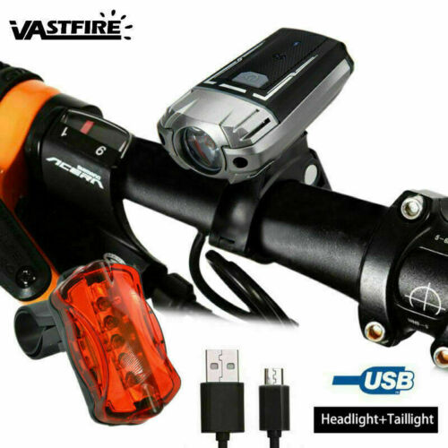 USB Rechargeable LED Bicycle Headlight Road Bike Cycling Helmet Front Rear Light