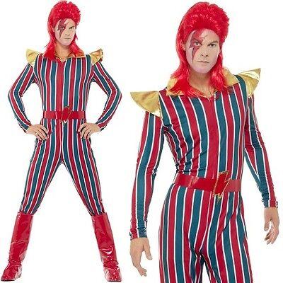 Mens 70s 1970s Space Superstar Fancy Dress Costume Bowie Stardust Suit Smiffys