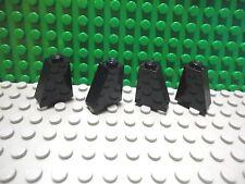 Lego 4 Black 2x1x2 slopes brick block 65 degree castle wall NEW