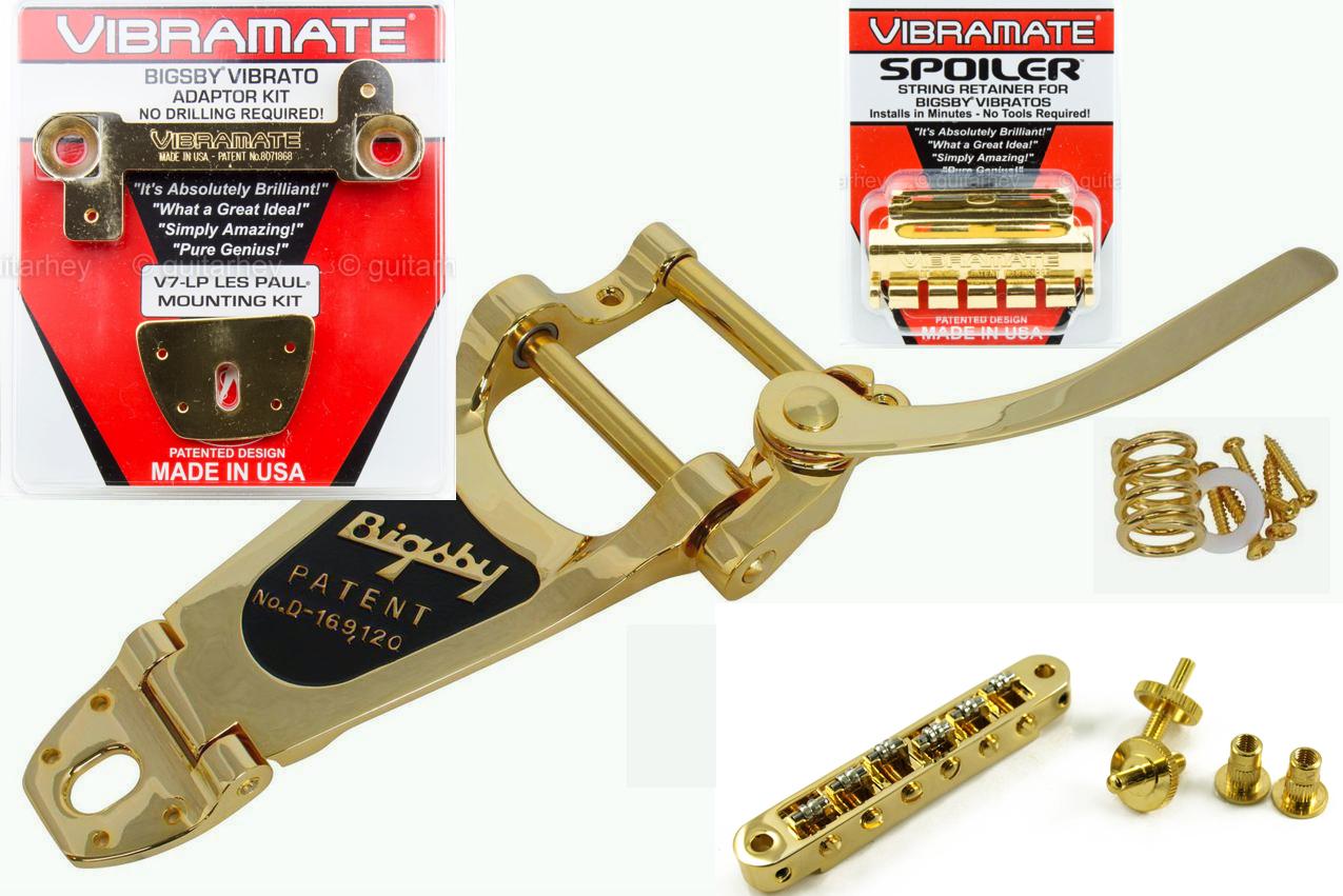 oro oro oro Bigsby B7 Tremolo, Vibramate V7 cadena Spoiler Tonepros Roller BRG 4 Gibson eb0996