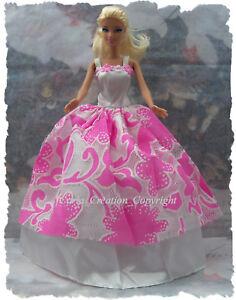 Glam-Robe-Bustier-brode-de-fleur-poupee-barbie-mannequin-vetement-rose-blanc