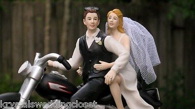 Motorcycle Wedding Cake Topper   Custom Colors Available