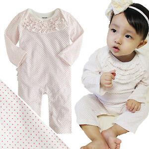 NWT-Vaenait-Baby-Newborn-Toddler-Girl-039-s-Bodysuit-One-piece-034-White-Pin-Dot-034