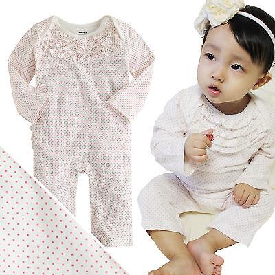 "NWT Vaenait Baby Newborn Toddler Girl's Bodysuit One piece ""White Pin Dot"""