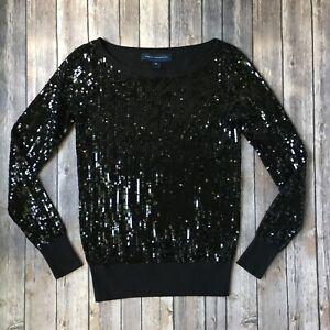 French-Connection-Sweater-Top-Sequin-Black-XS-0-2-Long-Sleeve-Party-Bling