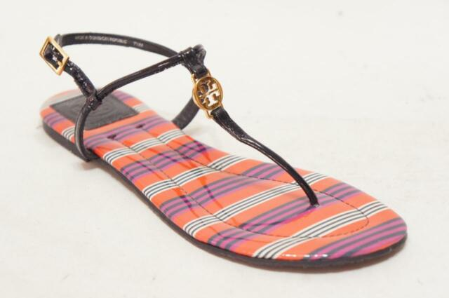 7112130d57d74b TORY BURCH EMMY T STRAP LOGO FLAT SANDALS SHOES 7.5