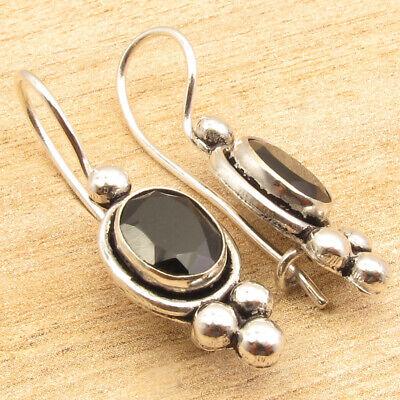 Extraordinary Silver Plated Natural Black Onyx Earrings Handmade Jewelry Fashion Earrings