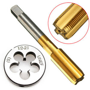 1-2-28-UNEF-Tap-amp-Die-Set-Titanium-Coated-HSS-Right-Hand-Thread-Cutting-Tools