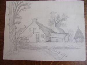 2 Dessins Au Crayon. Chaumière De Campagne, Tour Moyen-age Circa 1940 Limpide à Vue