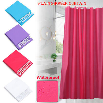 Waterproof Fabric Shower Curtain Bathroom Mat Plain With Hooks Ring Extra Long