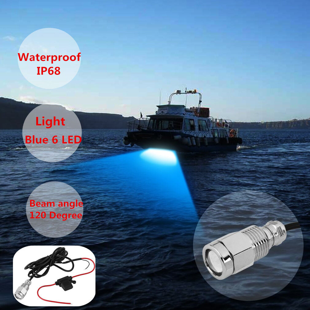 "Blue 6LED 1/2"" 9W NPT Underwater Boat Drain Plug Light & Waterproof Connector BP"