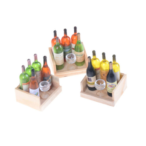 1Set Wine Juice Bottles With Cup Wood Rack 1:12 Dollhouse Miniature DecorationBS
