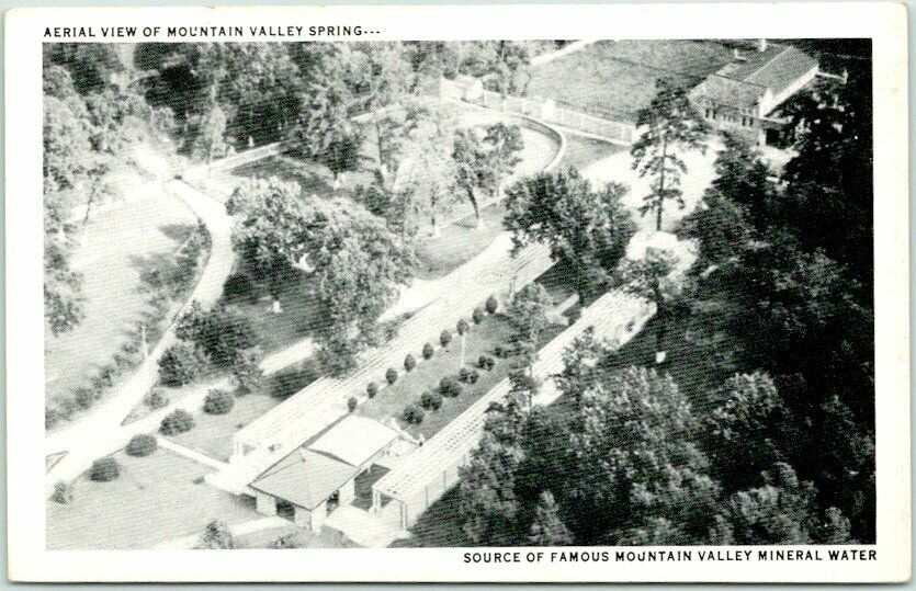 Vintage HOT SPRINGS, Arkansas Postcard MOUNTAIN VALLEY SPRING Aerial View c1940s