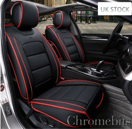 Deluxe 1+1 Black PU Leather Front Seat Covers Cushion For Fiat Seat Volvo