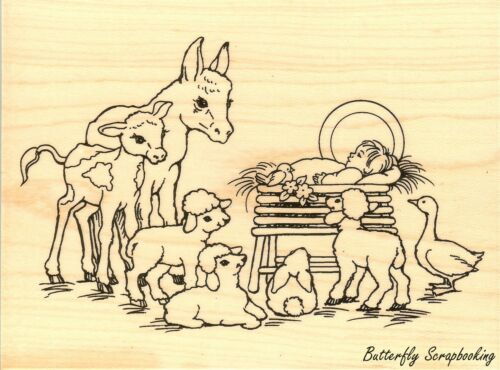 Barnyard Christmas Nativity Wood Mounted Rubber Stamp STAMPENDOUS R210 New