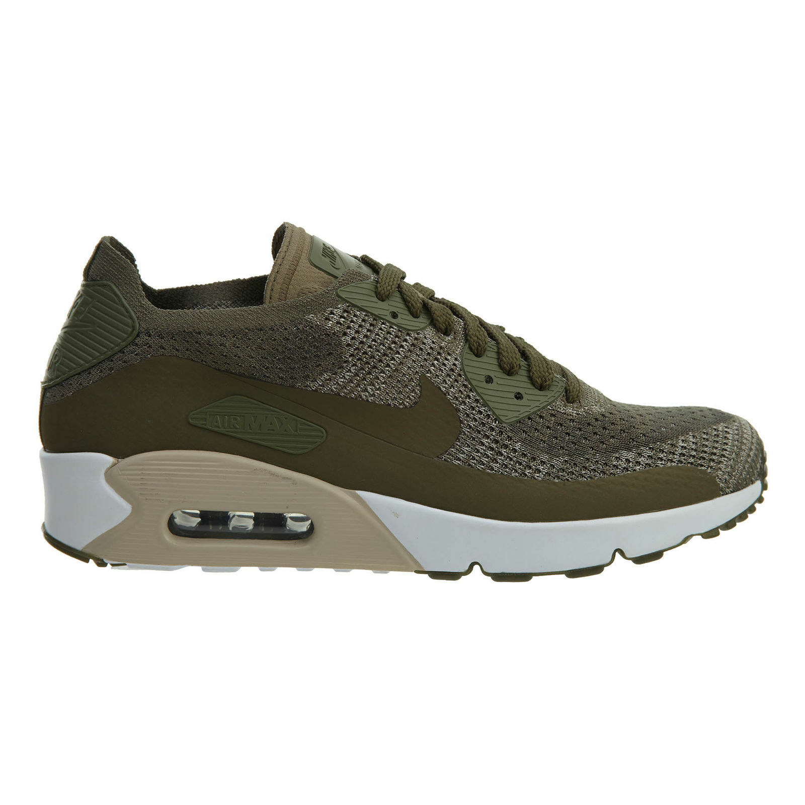 Nike Air Max 90 Ultra 2.0 Flyknit Mens 875943-200 Olive Running Shoes Size 11.5