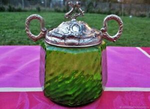 Pot à bonbons ancien pot à biscuits Médaillon en verre argenté France Antique ca