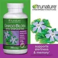 TruNature Ginkgo Biloba 120 mg with Vinpocetine - 300 Softgels (Trunature) (096619437955)