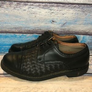 Tommy-Bahama-Men-039-s-Black-And-Espresso-Leather-Weaved-Golf-Shoes-US-8-5