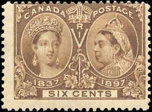 Mint-H-Canada-6c-1897-F-Scott-55-Diamond-Jubilee-Issue-Stamp