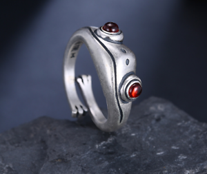 New Natural Red Garnet Handmade Solid 925 Sterling Silver Vintage Cute Frog Ring
