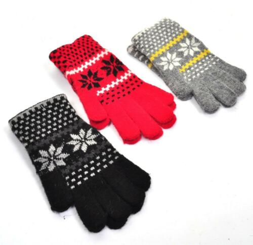 RETRO VTG STYLE Snowflake Gloves Red Black Grey BNWT NEW Xmas Gift Stocking