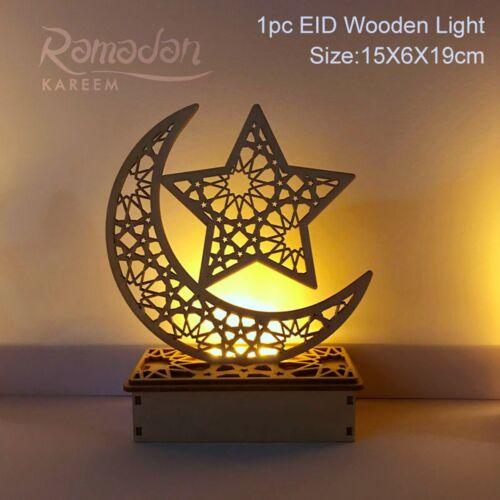 Wooden Islamic LED Lights Eid Mubarak Tray Wall Hanging Ramadan Gifts Home Decor