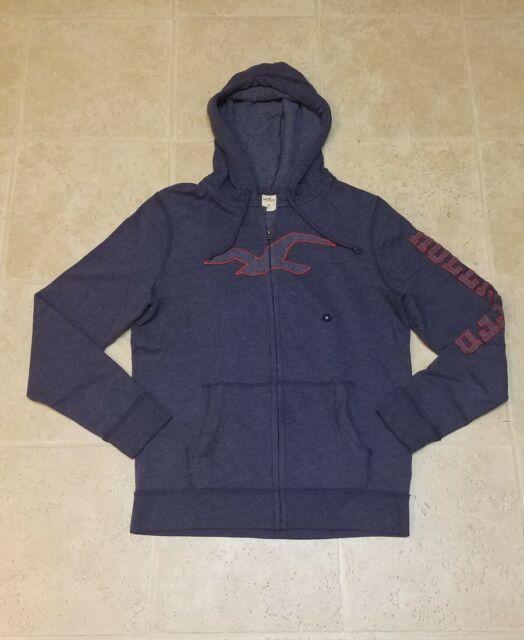Hollister By Abercrombie Men's Hoodie Sweater Zipped Indigo Blue AUTHENTIC Sz M