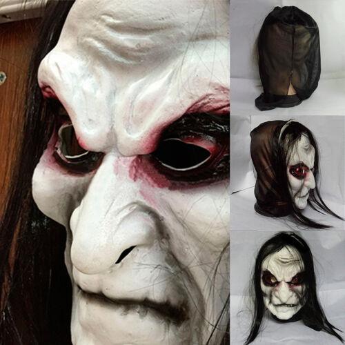 Adult Mens Long Black Hair Latex Mask Zombie Scary Halloween Cosplay Fancy Dress