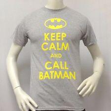 Men's BATMAN T-shirt KEEP CALM AND CALL BATMAN Light Gray Tee Small S