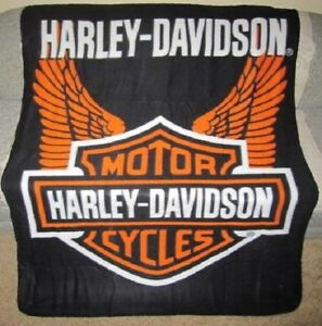 New-Wings-Fleece-Harley-Davidson-Shield-Logo-Motorcycle-Throw-Gift-Blanket-NWT