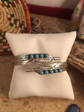 Navajo Turquoise And Sterling Silver Feather Cuff Bracelet by Vivian Begay