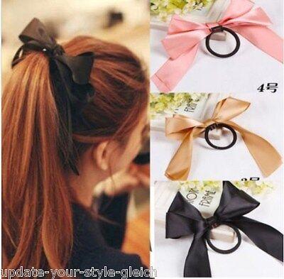 Zopfband HAARGUMMI Haarband SATIN-SCHLEIFE  Haarschleife  6 Farben zur Wahl