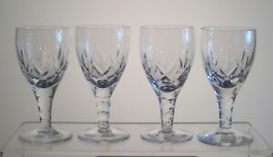 CARLINGFORD-STUART-CRYSTAL-Sherry-Glasses-4-3-8-034-SET-of-4-Signed-Sold-at-BIRKS