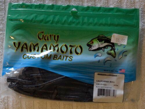"Black w// Large Blue Flake Gary Yamamoto 5/"" California Roll"