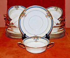 9 Rosenthal Ivory Bavaria, GLADMERE Cream Soups & Saucers, RARE c.1925-1941